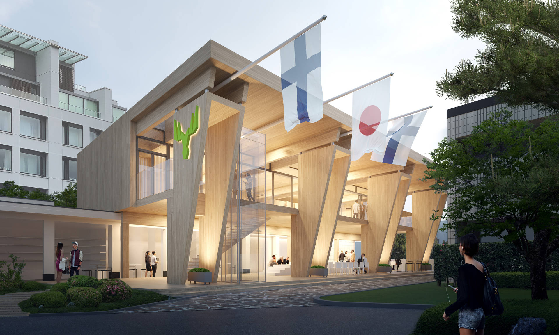 A wooden Metsä pavilion in Tokyo during the 2020 Olympic Games