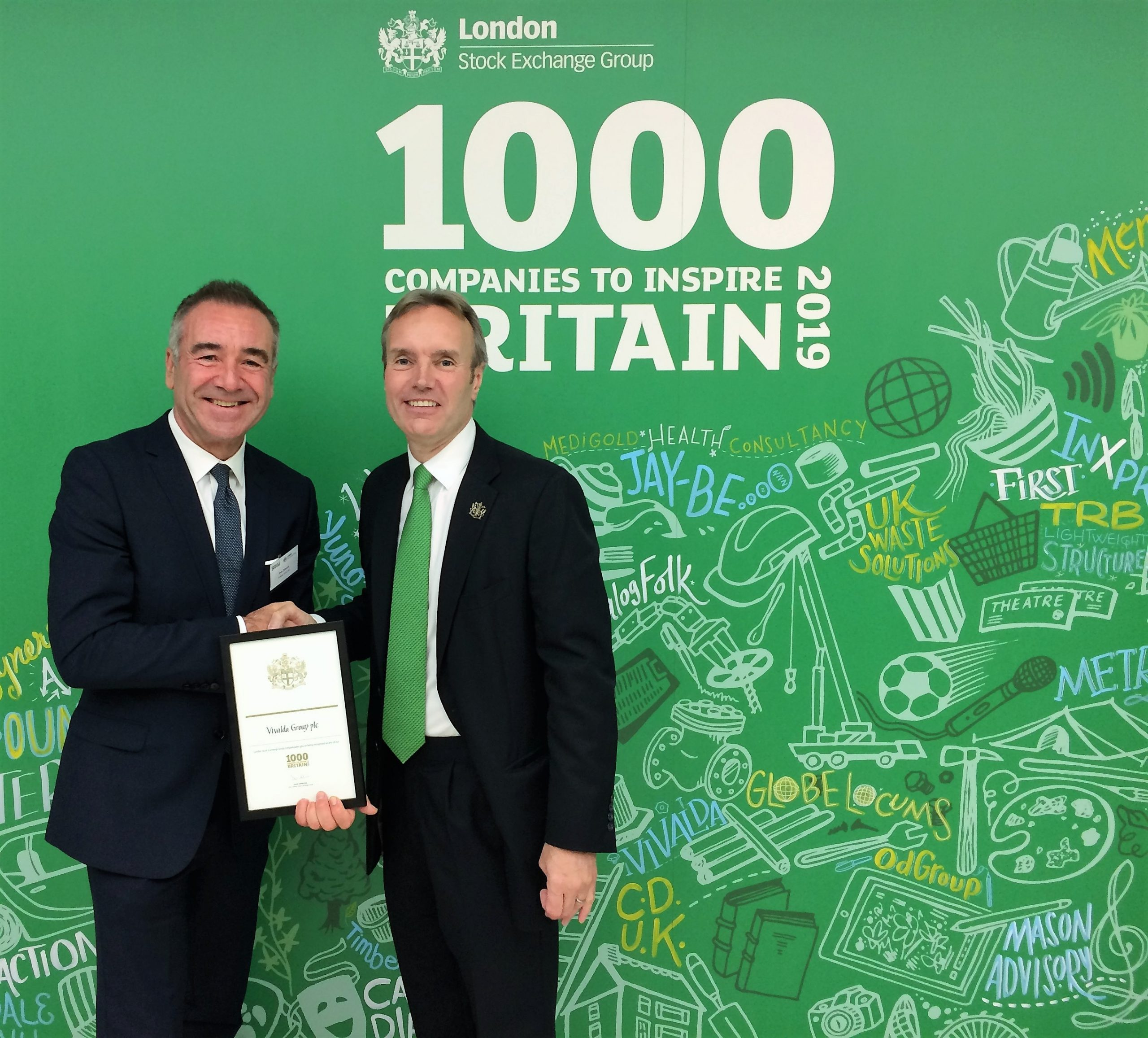 Vivalda Group listed in London Stock Exchange Group's '1000 Companies to Inspire Britain' 2019 report for third year