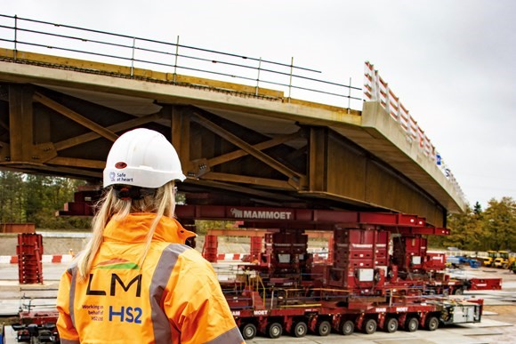 HS2 completes construction milestone as 914 tonne modular bridge is moved into place in 45 minutes