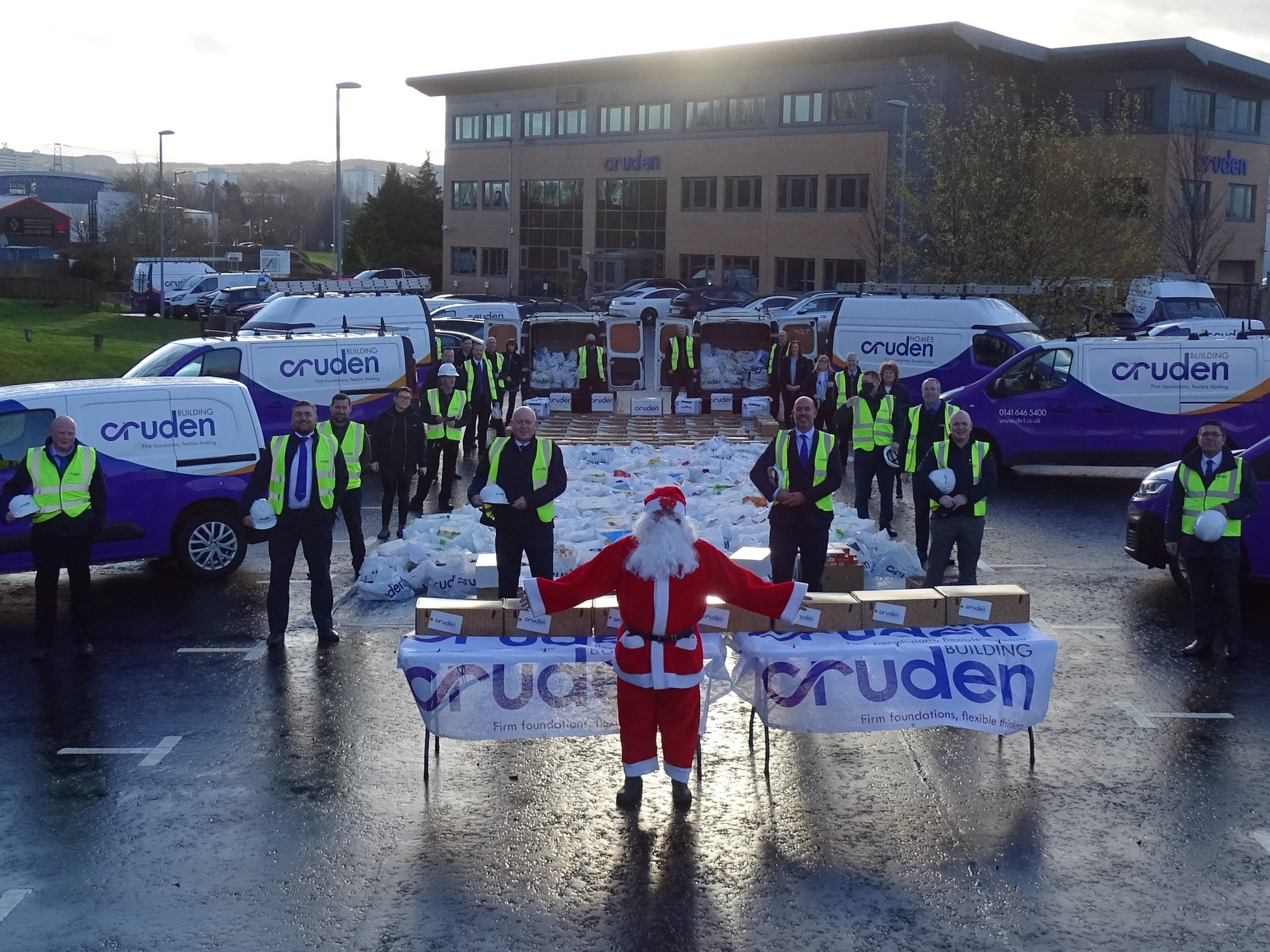 Big-hearted company builds a mountain of donations to support foodbanks across Scotland