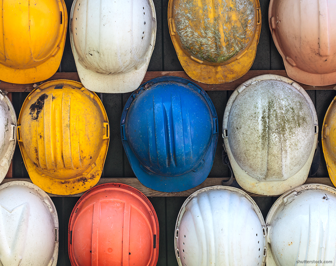 Do workers check their hard hats?