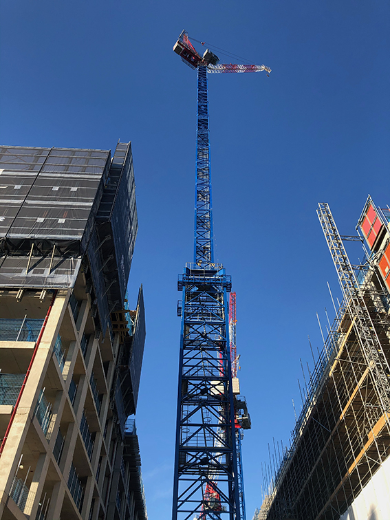 Bennetts Cranes increases freestanding crane to 105m for residential development in Fulham