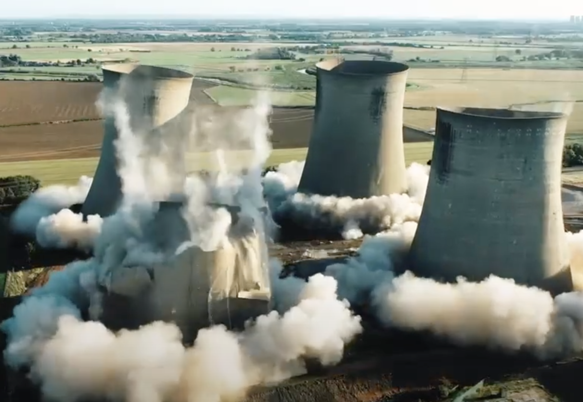 Final set of cooling towers successfully blown down at Eggborough Power Station.